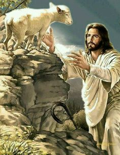 Those of us who are saved are the sheep of the Lord Jesus Christ. Pictures Of Jesus Christ, Bible Pictures, Pictures Of God, Jesus Pics, Image Jesus, Saint Esprit, Jesus Painting, Jesus Art, Biblical Art