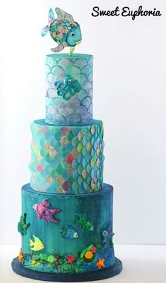 Rainbow fish cake Karen can whip up the cake for us. Ocean Cakes, Beach Cakes, Fondant Cakes, Cupcake Cakes, Cupcakes, Kid Cakes, Pretty Cakes, Beautiful Cakes, Amazing Cakes