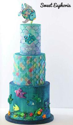 Rainbow Fish tiered cake