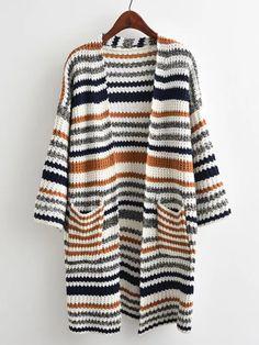 Promo Offer ROMWE Striped Textured Knit Longline Cardigan Sweater Ladies Striped V Neck Sweater 2018 Multicolor Casual Long Sleeve Sweater Longline Cardigan, Striped Cardigan, Knit Cardigan, Cardigan Sweaters, Long Cardigan, Striped Knit, Cotton Sweater, Women's Sweaters, Sweatshirts