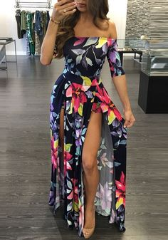 Ladies Floral Print Dress Ankle-Length High Slit Boho Dress - Inspirational Clothing and Accessories Plus Size Summer Dresses, Summer Dresses For Women, Dress Summer, Summer Outfit, Cute Dresses, Dresses With Sleeves, Maxi Dresses, Cheap Dresses, Short Sleeves