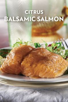 Elevate a piece of baked salmon with a light and flavorful citrus balsamic sauce made with fresh orange juice, chicken broth, balsamic vinegar, and a bit of brown sugar. It's the perfect finishing touch for this healthy fish dish!