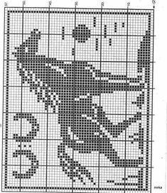 Risultati immagini per diagramme filet crochet Cross Stitch Horse, Cross Stitch Animals, Cross Stitch Charts, Cross Stitch Patterns, Crochet Pixel, Crochet Motif, Crochet Patterns, Filet Crochet Charts, Knitting Charts