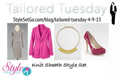 Stay comfortable in knits with this colorful career style set! Layer a Ponte Knit Long Sleeve Dress in Gray with a Signature Ponte Knit Boyfriend Blazer in Pink-Raspberry and add a darker shade in a shoe with Michael Kors Cyprien Patent Leather Cork Heel Pumps. Accessorize with a second pop of color in a Kate Spade Jeweled Chain Necklace and finish with a Marc Jacobs Globetrotter Zip Tote in Cement! StyleSetGo.com/blog/tailored-tuesday-4-9-13