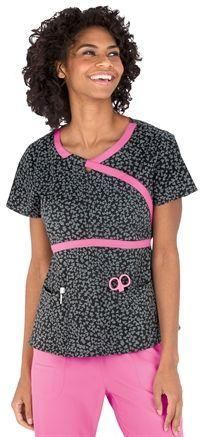 Medical Uniforms and Nursing Scrubs - Heartsoul Heart To Beat Pewter Romance Scrub Top
