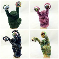 CROCHET PATTERN ONLY to make a MONSTERS Hand Puppet. 4 sizes: toddler, child, teen/small adult, and large adult. These puppets work up quickly. Pattern includes written instructions and helpful photographs. (Crochet kits are coming soon.)