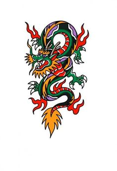 American traditional dragon tattoo - American traditional dragon tattoo - Best Picture For Tattoo Style sleeve For Your Taste You are looking for somet Pisces Tattoos, Wolf Tattoos, Star Tattoos, Tribal Tattoos, Body Art Tattoos, New Tattoos, Sleeve Tattoos, Celtic Tattoos, American Traditional