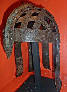 At the Statens Historiska Museet. Photograph courtesy M.Bunker. The Ultuna boat grave helmet.