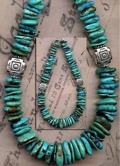 "Mexican Nacozari Turquoise Beads 9 5"" Rich Blue Natural Color Genuine 7 13mm 