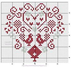 Sul Blog Mausimomsfreebies è disponibile lo schema di ricamo a punto croce di un cuore stilizzato con uccellini e fiori. Le tonalità delle matassine sono il rosso e il grigio.