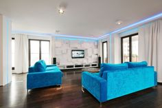 Interior: White And Blue Living Room Design With Blue Sofa And Circle Coffee Table Also Glass Window With White Curtain Also Downlight And Tv Wall Units: Best White and Blue Interior Decorating Design ideas
