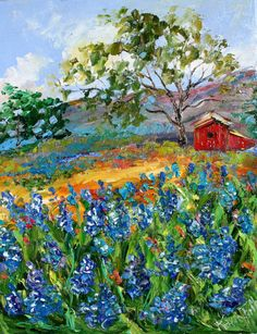 Love, love, love - Texas Hill Country Bluebonnets Original oil painting by Karen Tarlton