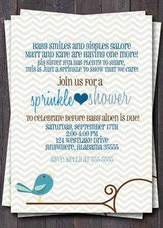 Baby Sprinkle, Baby Shower, or Sip n See Invitation -- Baby boy or Girl baby -- Modern Chevron Bird -- Custom printable jpeg file. $12.00, via Etsy.