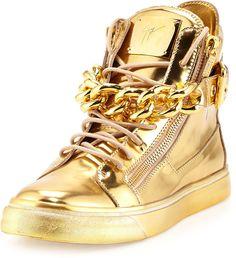 Giuseppe Zanotti Men's Metallic Chain & Zipper High-Top Sneaker, - Men's shoes, high-top, Gold sneaker.