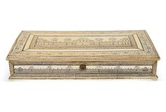 "Large 18th-C. Indian Ivory Box  Anglo-Indian - Circa 1785  10""L x 19""D x 3.5""H  ($9,500.00)  $5,999.00  OneKingsLane.com"