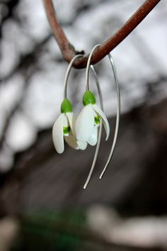 Snowdrops silver 925 earrings, spring cold porcelain floral earrings --------------------------------------------------- Spring floral earrings