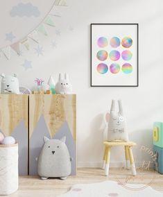Rainbow dots print nursery wall art Nursery Prints, Nursery Wall Art, Girl Nursery, Wall Art Prints, Nursery Ideas, Brave, Alphabet Print, Inspirational Wall Art, Color Negra