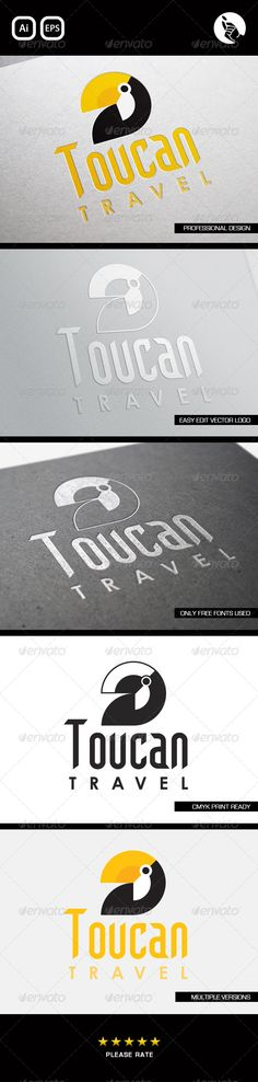 Toucan Travel Logo #GraphicRiver TOUCAN TRAVEL AGENTS LOGO BY FLIPSIDE Professionally designed unique logo Fully editable with eps & ai formats CMYK print ready files This Logo uses free fonts, links included FONTS: • Century Gothic (system font) • .dafont /gothikka.font Created: 2April13 GraphicsFilesIncluded: VectorEPS #AIIllustrator Layered: Yes MinimumAdobeCSVersion: CS Resolution: Resizable Tags: agents #ai #bird #business #clean #clothing #concept #cool #cr...