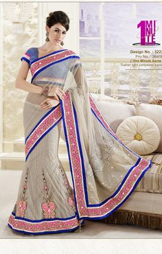 Khazanakart Heavy Embroidery Net And Satin Saree in Off White And Silver Color