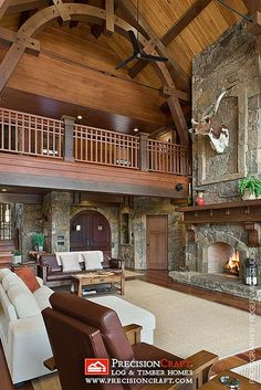 Mountain-Style Home Interior | PrecisionCraft Hybrid Log & Timber Homes | Flickr - Photo Sharing!