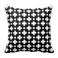 Black and white decorative design throw pillow