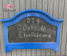 This was super easy to make with and the kids loving this outside chalkboard Outdoor Chalkboard, Chalkboard Paint, Moola Saving Mom, Outdoor Spray Paint, Diy Craft Projects, Diy Crafts, Old Headboard, Painters Tape, Twin Girls