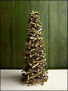 twig tree...This is so going to be on the porch at the mountain house...I'll make one about 5ft tall and place atop an urn. Thanks for this idea. FYI ~ I'll use a nail gun for assembly.....5FT??? U got more patience than I..And me I will make a Small one... just because it is so beautiful...