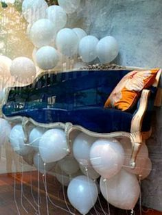 A creative storefront #design, like this Anthropologie display, leaves clients floating! http://ullam.typepad.com/ullabenulla/2007/06/anthro_windows.html
