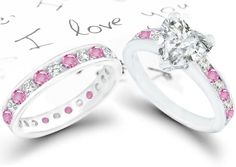 Pink And Black Diamond Engagement Rings = |6| = Pink Sapphire And Diamond Wedding Ring