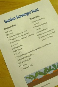 A simple garden scavenger hunt is a fun way to explore a school garden, home garden - even a community garden. Print this FREE list or create your own.