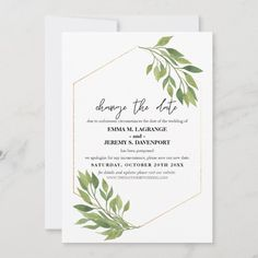 Shop Change the date wedding Greenery and gold frame Save The Date created by DesignbyRedline. Botanical Wedding Invitations, Wedding Shower Invitations, Watercolor Wedding Invitations, Wedding Stationery, Wedding Templates, Wedding Invitation Templates, Postcard Invitation, Wedding Greenery, Wedding Announcements