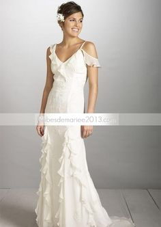 Collection Robe de Mariage 2013 Col en V A-Ligne Princesse traîne Chapelle Mousseline de Soie