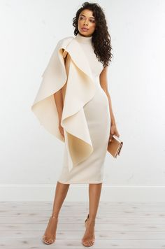 Front View Ruffle Dress in Ivory