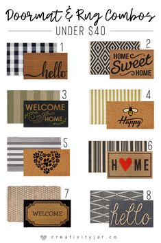 Update your entryway with these modern doormat and rug combos under 40 Get a trendy and affordable home decor look for less Front Door Porch, Front Door Mats, Front Door Decor, Fromt Porch Decor, Planters For Front Porch, Front Porch Fall Decor, Diy Front Porch Ideas, Fromt Porch Ideas, Outside House Decor