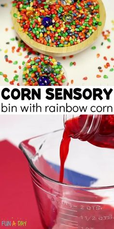 Make a colorful corn sensory bin! It's a perfect fall sensory bin for preschool. There is so much learning that happens when kids engage in sensory exploration, and this colorful bin inspires tons of creativity! Rainbow Activities, Early Learning Activities, Autumn Activities For Kids, Preschool Activities, Fall Sensory Bin, Sensory Bins, Sensory Play, Rainbow Corn, Preschool Lesson Plans