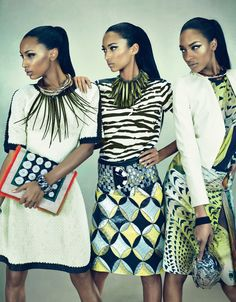 fun with prints and patterns: dresses in white & black with a dash of yellow