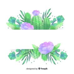 Watercolor cactus banners with blank banner Free Vector Watercolor Wallpaper, Watercolor Cactus, Watercolor Art, Doodle Background, Background Banner, Cactus Backgrounds, Cactus Doodle, Blank Banner, Cactus Types
