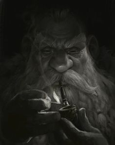Dwarf with pipe in darkness