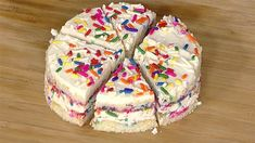Make cake even more fun with colorful rainbow sprinkles baked in the batter and mixed into the frosting.