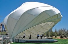 View photographs of the Central Park At Playa Vista Bandshell project in Los Angeles, CA in FabriTec Structures tensile membrane structure project portfolio Shell Structure, Membrane Structure, Fabric Structure, Futuristic Architecture, Interior Architecture, Tensile Structures, Floating Garden, Outdoor Stage, Tent Design