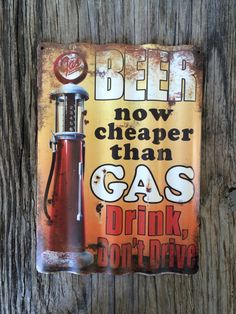 Vintage style corrugated tin metal sign // gift for him fathers Day man cave // rustic nostalgic wall art // retro beer gas pump by RinTinSignCO on Etsy https://www.etsy.com/listing/266704875/vintage-style-corrugated-tin-metal-sign