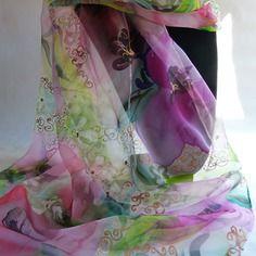 """Etole écharpe foulard en mousseline de soie peint main fleuri """" rose et…"""