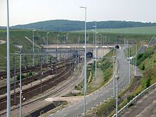 Entrance to the Chunnel near Coquelles, France