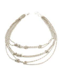 Silver Aztec Knot Bib Necklace $29 (orig. $75)