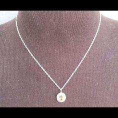 Amber Stone Pendant Cz Diamonds Silver Necklace