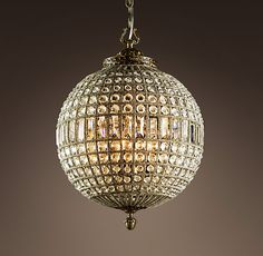 19th C. Casbah Crystal Chandelier Medium  $850    Replicating the sparkling lanterns of 19th-century Morocco, our arresting globe-shaped chandelier is strung with hundreds of multi-faceted crystals, each polished by hand to a brilliant shine.