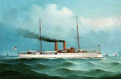 Painting of the SMS Jaguar.  With the outbreak of the First Sino-Japanese War in 1894, Germany revived her interest in China. With full support from Kaiser Wilhelm II, the German admiralty created a Far East Cruiser Division with the modern light cruiser SMS Irene and three aging small ships (i.e., SMS Jaguar)under the command of Rear Admiral Paul Hoffmann.