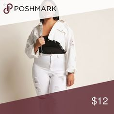 F21 Plus skinny high waist distressed white denim Love these just too high waisted for me! Lots of stretch, perfectly skinny legs. Have been folded in my closet for a month with tags. Will post non stock photos soon! Forever 21 Plus Jeans Skinny