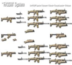 SCAR weapons family. Top SCAR-L and its three lengths of barrels. Bottom SCAR-H and its three barrel lengths. Both with and without the EGLM grenade launcher.
