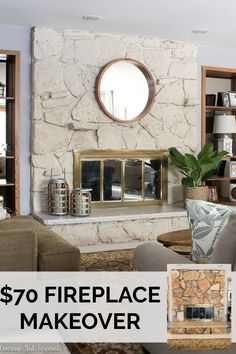 - Average But Inspired Limewash Stone Fireplace Makeover: Bye Bye Orange Stone Fireplace, Hello Neutral Stone Beauty! - Average But Inspired Decor, Limewash, Marble Fireplaces, Stone Fireplace Wall, Fireplace Hearth, Stone Fireplace Makeover, Painted Rock Fireplaces, Diy Fireplace